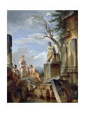 Ruins with a Sibyl and Other Figures, C.1720 Reproduction procédé giclée par Giovanni Paolo Pannini