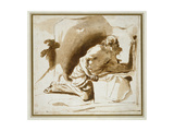 St Jerome, C.1622 - 1624 (Pen and Brown Ink with Brown Wash on White Paper) Giclee Print by  Guercino