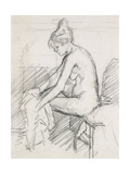 Study of a Nude Female, Seated, Drying Her Right Foot Giclee Print by Harold Gilman