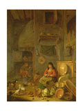 A Kitchen Interior with a Woman Peeling Potatoes Beside a Dog Lámina giclée por Hendrik Martensz Sorgh