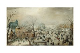 Winter Landscape with Skaters. C.1608 Giclée-tryk af Hendrik Avercamp
