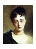 An Elegant Lady with Pearls Giclee Print by Gustave Jacquet