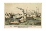 The First Battle Between 'Iron' Ships of War, Published C.1862 Giclee Print by Henry Bill