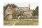 A Surrey Cottage with a Mother and Her Children (Watercolour with Scratching Out) Giclee Print by Helen Allingham