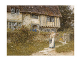 Beside the Old Church Gate Farm, Smarden, Kent (Watercolour with Scratching Out) Giclee Print by Helen Allingham