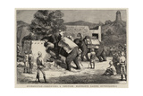 Afghanistan, Fortifying a Position, Elephants Razing Outbuildings Giclee Print by Harry Hamilton Johnston