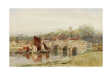 Village with Bridge Giclee Print by Henry George Hine