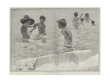 Children Bathing Giclee Print by Hector Caffieri