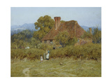 Cottage at Broadham Green, Surrey, in Sunset Light (Watercolour with Scratching Out) Giclee Print by Helen Allingham
