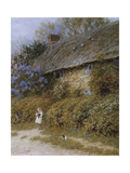 Old Cottage at Freshwater, Isle of Wight (Watercolour with Scratching Out) Giclee Print by Helen Allingham