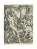 Hercules Chains Cerberus, 1550 Giclee Print by Heinrich Aldegrever