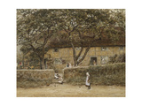 Children Outside a Cottage Giclee Print by Helen Allingham