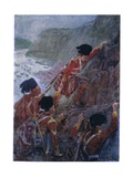 Wolfe's Army Scaling the Cliffs at Quebec 1759, C.1920 Giclee Print by Henry Sandham