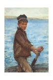 Steering the Punt, 1909 Giclee Print by Henry Scott Tuke