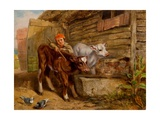 Boy with Calves and Trough Giclee Print by Henry Dawson