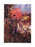 Jacques Cartier and the Redskins, C.1920 Giclee Print by Henry Sandham