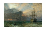 Man O'War and a Stormy Sunset (The Guardship), 1875 Giclee Print by Henry Dawson