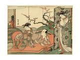 Futon No Ue No Sinzou to Sore O Nagameru Yujo Giclee Print by Isoda Koryusai
