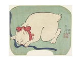 A White Cat Playing with a String, 1863 Giclee Print by Hiroshige II