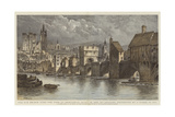 The Old Bridge over the Tyne at Newcastle, Built in the 13th Century, Destroyed by a Flood in 1771 Giclee Print by Henry William Brewer