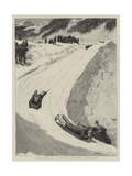Tobogganing at St Moritz, Engadine, Switzerland Giclee Print by Henry Marriott Paget
