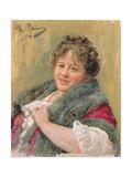Portrait of Tatiana Olga Shchepkina-Kupernik (1874-1952) 1914 Giclee Print by Ilya Efimovich Repin