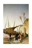 A Village by the Nile Giclee Print by Herman David Salomon Corrodi