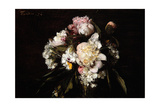 Peonies, White Carnations and Roses, 1874 Giclee Print by Ignace Henri Jean Fantin-Latour