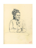 Study for 'A Parisian Cafe': Seated Woman with Bow and Folded Hands, C. 1872-1875 Giclee Print by Ilya Efimovich Repin