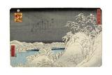 Evening Snow on Mount Hira, January 1859 Giclee Print by Hiroshige II