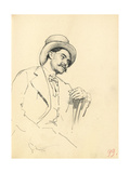 Study for 'A Parisian Cafe': Seated Man with Hat, C. 1872-1875 Giclee Print by Ilya Efimovich Repin