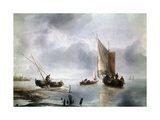 A Small Vessel in Light Airs, and Another Ashore, Ca 1650-1660 Giclee Print by Jan Van De Cappelle