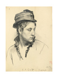 Woman with Hat, Head Turned to the Side, 1874 Giclee Print by Ilya Efimovich Repin