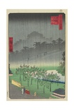 Eveningview, Paulownia Plantation at Akasaka in Downpour, April 1859 Giclee Print by Hiroshige II