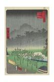 Eveningview, Paulownia Plantation at Akasaka in Downpour, April 1859 Giclee Print by Hiroshige II