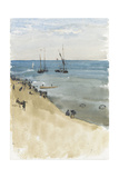 Green and Silver -- the Bright Sea, Dieppe (Watercolour and Gouache on Paper) Giclee Print by James Abbott McNeill Whistler