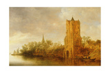 River Landscape with Ferries Docked before a Tower, 1640s Giclee Print by Jan Josephsz. Van Goyen