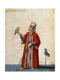 Usher to Great Selim with Parrots Giclee Print by Jacopo Ligozzi
