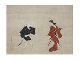 Nikuhitsu Ukiyo-E: Young Samurai and a Manservant as Mitate of Huanshigong and Zhang Lian, C. 1690 Giclee Print by Hishikawa Moronobu
