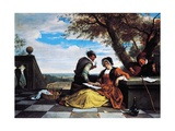 Two Men and Young Woman Making Music on Terrace, 1670-1675 Giclee Print by Jan Steen