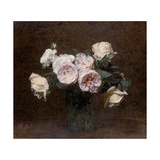 Still Life: Pink, White and Yellow Roses, 1894 Giclee Print by Ignace Henri Jean Fantin-Latour