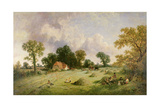 Haymaking in Hampshire Giclee Print by James Edwin Meadows
