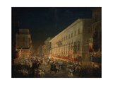 Festivals of Moccoletti (Tapers) (Carnival in Rome), 1852 Giclee Print by Ippolito Caffi