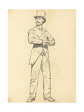 Study for 'A Parisian Cafe': Standing Man with a Hat, Legs Apart, C. 1872-1875 Giclee Print by Ilya Efimovich Repin