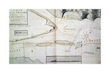 Map of Crossings on Saint Lawrence River Near Quebec Giclee Print by James Cook