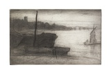 Chelsea Bridge and Church from Sixteen Etchings of Scenes on the Thames and Other Subjects Giclee Print by James Abbott McNeill Whistler