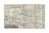 Map of the Caribbean, 1715 Giclee Print by Hermann Moll