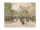Boulevard Haussmann Giclee Print by Jean Francois Raffaelli