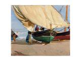 Fishermen, Stranded Boats, Valencia; Pescadores, Barcas Varadas, Valencia Giclee Print by Joaquin Sorolla y Bastida