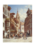 Figures on the Street in Zug, Switzerland, 1880 Giclee Print by Jacques Carabain